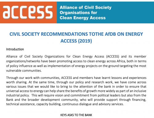 CIVIL SOCIETY RECOMMENDATIONS TO THE AfDB ON ENERGY ACCESS (2019)