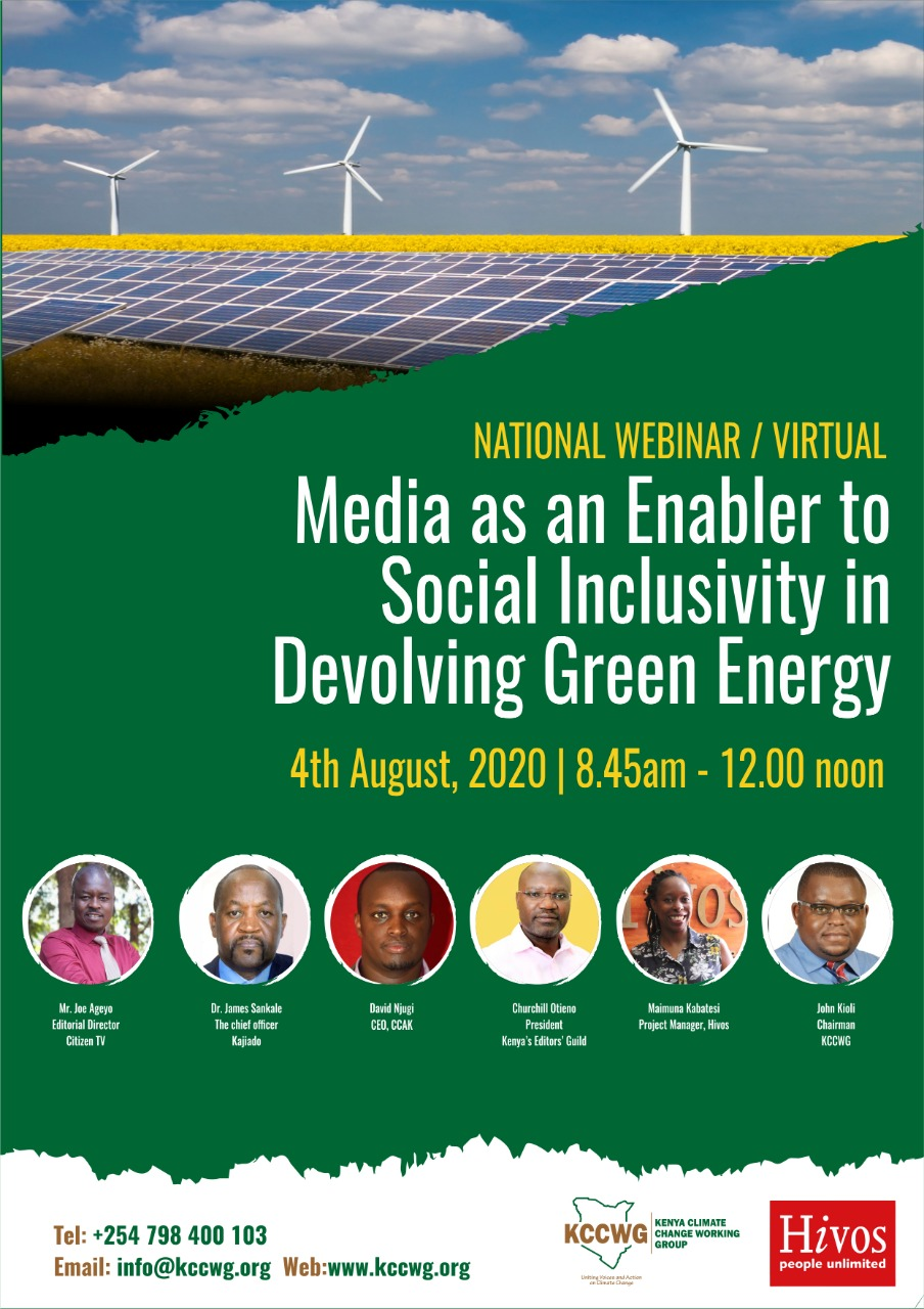 (KCCWG) National Webinar- Media as an Enabler to Social Inclusivity in Devolving Green Energy Banner